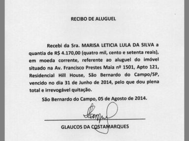 Lula apresenta recibos com datas de 31 de junho e 31 de novembro