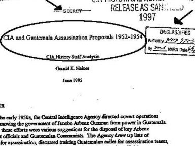 Eisenhower aprovou  CIA assassinar na Guatemala para culpar o presidente Árbenz