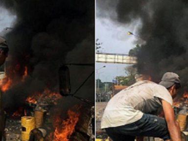 """Fotos desmentem que """"ajuda humanitária"""" teria sido queimada por guardas venezuelanos"""
