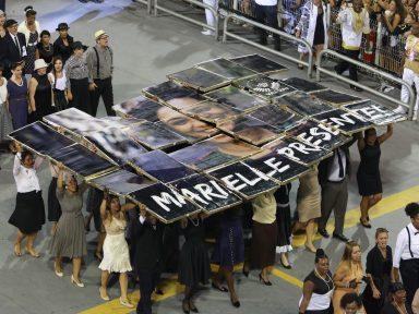 Vai-Vai homenageia  Marielle Franco no Sambódromo paulistano