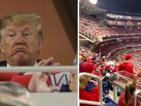 """Estádio de beisebol recebe Trump com longa vaia e  coro geral: """"prendam-no!"""""""