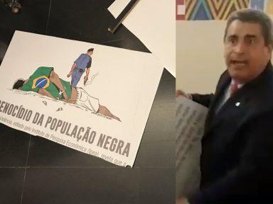 Bolsonarista quebra placa em ato racista na Câmara