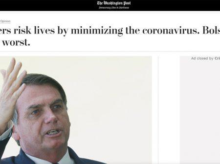 """Washington Post: Bolsonaro é o """"caso mais grave de má conduta"""" contra a Covid-19"""